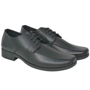 Sapatos clássicos homem c/ atacadores tamanho 40 couro PU preto - PORTES GRÁTIS