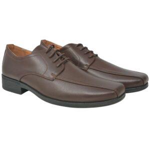 Sapatos clássicos homem c/ atacadores tam. 43 couro PU castanho - PORTES GRÁTIS