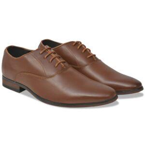 Sapatos clássicos homem c/ atacadores tam. 44 couro PU castanho - PORTES GRÁTIS