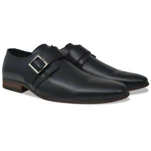 Sapatos de homem c/ fivelas tamanho 40 couro PU preto - PORTES GRÁTIS