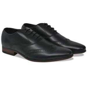 Sapatos brogue homem c/ atacadores tamanho 42 couro PU preto - PORTES GRÁTIS