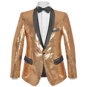 Blazer lantejoulas p/ homem tamanho 54 dourado -  PORTES GRÁTIS