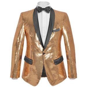 Blazer lantejoulas p/ homem tamanho 56 dourado -  PORTES GRÁTIS