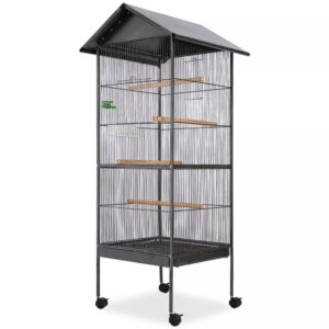 Gaiola para pássaros com telhado de aço 66x66x155 cm preto - PORTES GRÁTIS