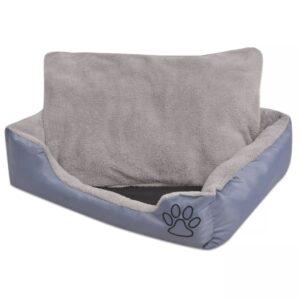 Cama para cães com almofada acolchoada tamanho L cinzento - PORTES GRÁTIS