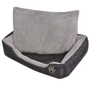 Cama para cães com almofada acolchoada tamanho M preto - PORTES GRÁTIS