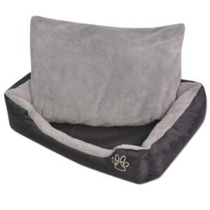 Cama para cães com almofada acolchoada tamanho L preto - PORTES GRÁTIS