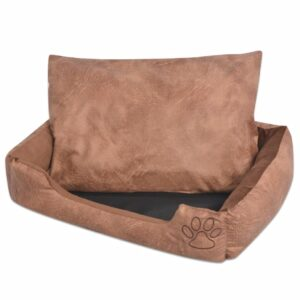 Cama para cães com almofada couro artificial PU - S bege - PORTES GRÁTIS