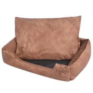 Cama para cães com almofada couro artificial PU tamanho L bege - PORTES GRÁTIS