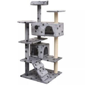 Árvore para gatos c/ postes arranhadores sisal 125 cm cinzento - PORTES GRÁTIS