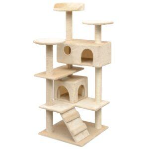 Árvore para gatos c/ postes arranhadores sisal 125 cm bege - PORTES GRÁTIS