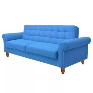 Sofá-cama tecido azul - PORTES GRÁTIS