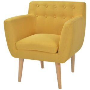 Poltrona em tecido, 67x59x77 cm, amarelo - PORTES GRÁTIS