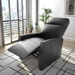 Poltrona reclinável/articulada elétrica couro artificial preto - PORTES GRÁTIS