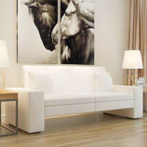 Sofá-cama em couro artificial branco - PORTES GRÁTIS