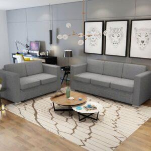Conjunto de sofás, 2 pcs, tecido cinzento claro - PORTES GRÁTIS