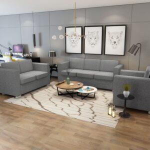 Conjunto de sofás, 3 pcs, tecido cinzento claro - PORTES GRÁTIS