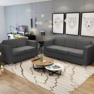Conjunto de sofás, 2 pçs, tecido cinzento escuro - PORTES GRÁTIS