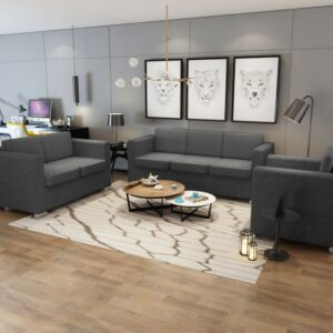 Conjunto de sofás, 3 pçs, tecido cinzento escuro - PORTES GRÁTIS