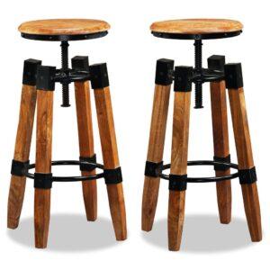 Bancos de bar 2 pcs madeira de mangueira maciça e aço  - PORTES GRÁTIS
