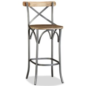 Banco de bar madeira mangueira maciça e aço costas cruzadas  - PORTES GRÁTIS