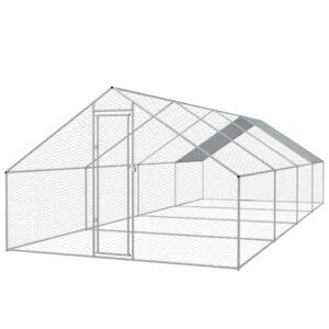 Galinheiro de exterior em aço galvanizado 3x8x2 m - PORTES GRÁTIS