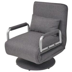 Cadeira giratória e sofá-cama cinzento escuro 60x75x80 cm -  PORTES GRÁTIS