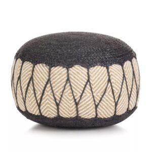 Pufe tricotado/entrançado em algodão e juta 50x30 cm azul - PORTES GRÁTIS
