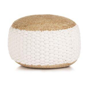 Pufe tricotado/entrançado em algodão e juta 50x35 cm branco - PORTES GRÁTIS