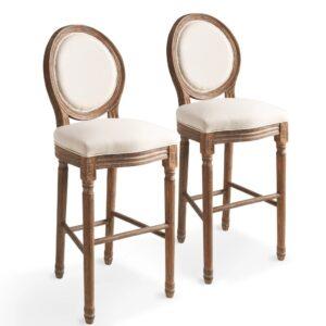 Cadeiras de bar 2 pcs linho 48x52x123 cm branco nata - PORTES GRÁTIS