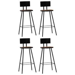 Cadeiras de bar 4 pcs madeira recuperada maciça castanho escuro  - PORTES GRÁTIS