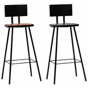 Cadeiras de bar 2 pcs madeira recuperada maciça multicor  - PORTES GRÁTIS
