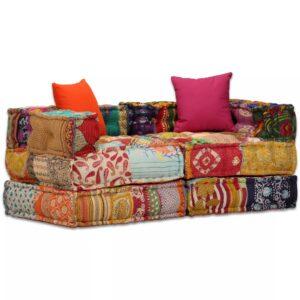Sofá-cama modular de 2 lugares em retalhos - PORTES GRÁTIS