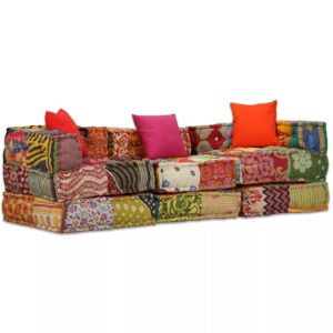 Sofá-cama modular de 3 lugares em retalhos - PORTES GRÁTIS