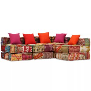 Sofá-cama modular de 4 lugares em retalhos - PORTES GRÁTIS