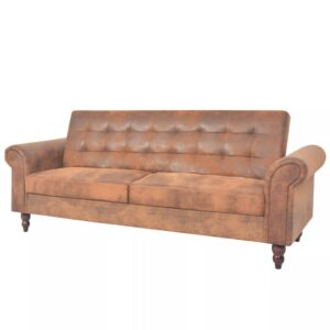 Sofá-cama conversível c/ apoio braços camurça artific. castanho - PORTES GRÁTIS