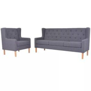 Conjunto de sofás 2 pcs tecido cinzento - PORTES GRÁTIS