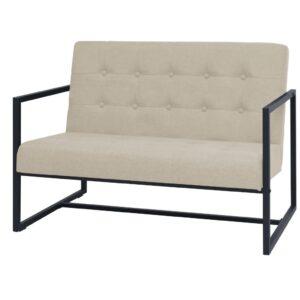 Sofá de 2 lugares com apoios de braços em tecido creme - PORTES GRÁTIS