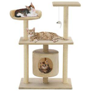 Árvore para gatos c/ postes arranhadores sisal 95 cm bege - PORTES GRÁTIS