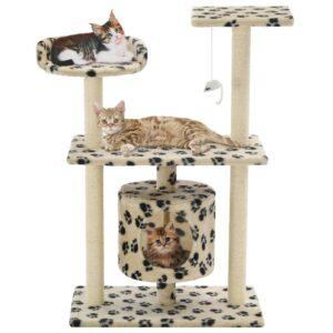 Árvore para gatos c/postes arranhadores sisal 95 cm bege - PORTES GRÁTIS