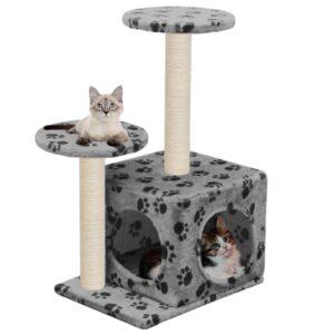 Árvore para gatos c/postes arranhadores sisal 60 cm cinzento - PORTES GRÁTIS