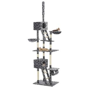 Árvore p/ gatos c/ postes arranhadores sisal 230-260 cm cinzento - PORTES GRÁTIS