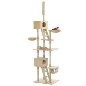 Árvore para gatos c/ postes arranhadores sisal 230-260 cm bege - PORTES GRÁTIS