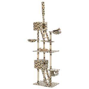 Árvore para gatos c/postes arranhadores sisal 230-260 cm bege - PORTES GRÁTIS