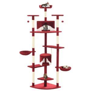 Árvore p/ gatos postes arranhadores sisal 203cm vermelho/branco - PORTES GRÁTIS