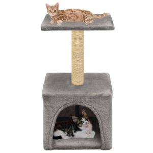 Árvore para gatos c/ postes arranhadores sisal 55 cm cinzento - PORTES GRÁTIS