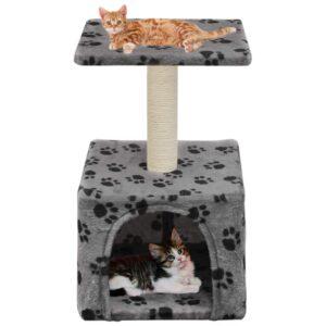 Árvore para gatos c/postes arranhadores sisal 55 cm cinzento - PORTES GRÁTIS