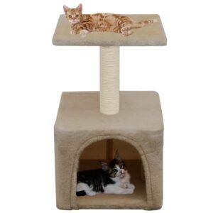 Árvore para gatos c/ postes arranhadores sisal 55 cm bege - PORTES GRÁTIS
