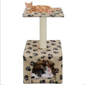 Árvore para gatos c/postes arranhadores sisal 55 cm bege - PORTES GRÁTIS
