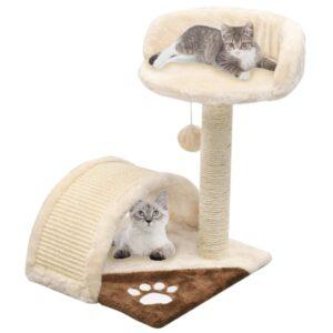 Árvore p/ gatos c/postes arranhadores sisal 40 cm bege/castanho - PORTES GRÁTIS